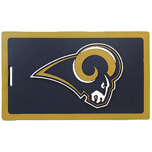 NFL Luggage Tag - St. Louis Rams - Easily identify your luggage, briefcase, or golf bag. Features the team logo on pliable, durable, vibrantly colored rubber tag. Includes insert card with plenty of space for contact information, or you can easily slide your business card into the protected. Officially licensed NFL product Licensee: Siskiyou Buckle .com