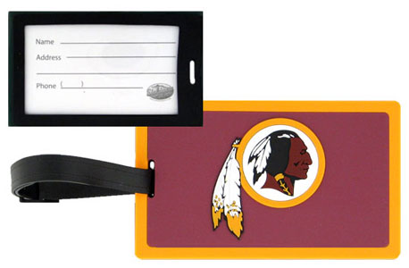 "Washington Redskins Luggage Tag - ""Easily identify your luggage, briefcase, or golf bag. Features the team logo on pliable, durable, vibrantly colored rubber tag. Includes insert card with plenty of space for contact information, or you can easily slide your business card into the protected, clear window. Measures 4 3/8"""" x 2 5/8"""" with an 8 1/4"""" strap."""