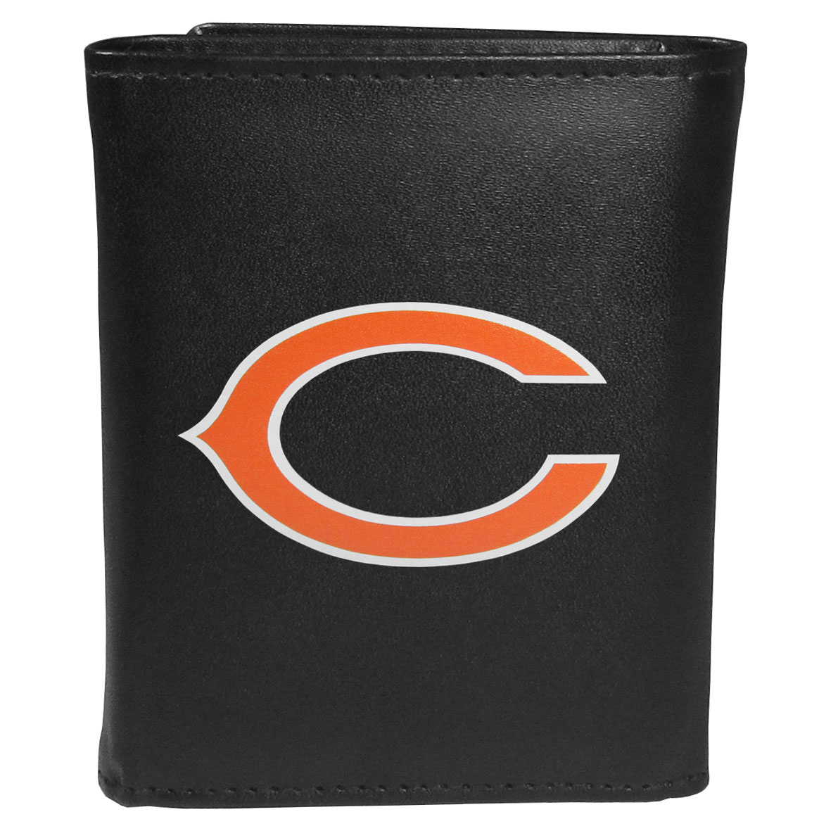 Chicago Bears Leather Tri-fold Wallet, Large Logo - Our classic fine leather tri-fold wallet is meticulously crafted with genuine leather that will age beautifully so you will have a quality wallet for years to come. This is fan apparel at its finest. The wallet is packed with organizational  features; lots of credit card slots, large billfold pocket, and a window ID slot. The front of the wallet features an extra large Chicago Bears printed logo.