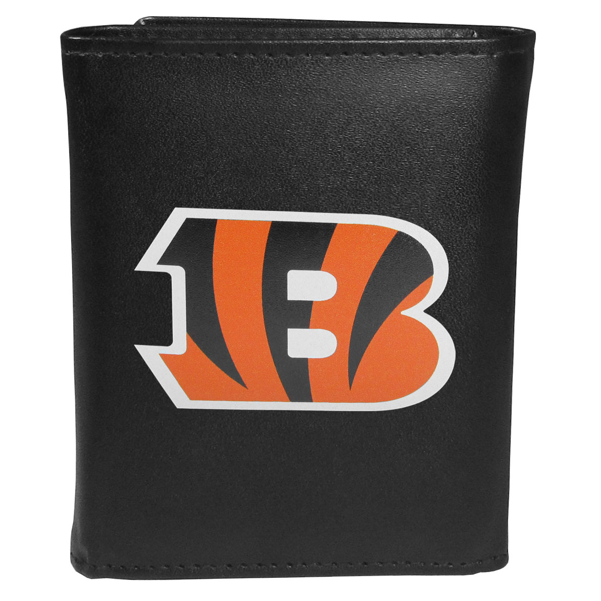 Cincinnati Bengals Leather Tri-fold Wallet, Large Logo - Our classic fine leather tri-fold wallet is meticulously crafted with genuine leather that will age beautifully so you will have a quality wallet for years to come. This is fan apparel at its finest. The wallet is packed with organizational  features; lots of credit card slots, large billfold pocket, and a window ID slot. The front of the wallet features an extra large Cincinnati Bengals printed logo.
