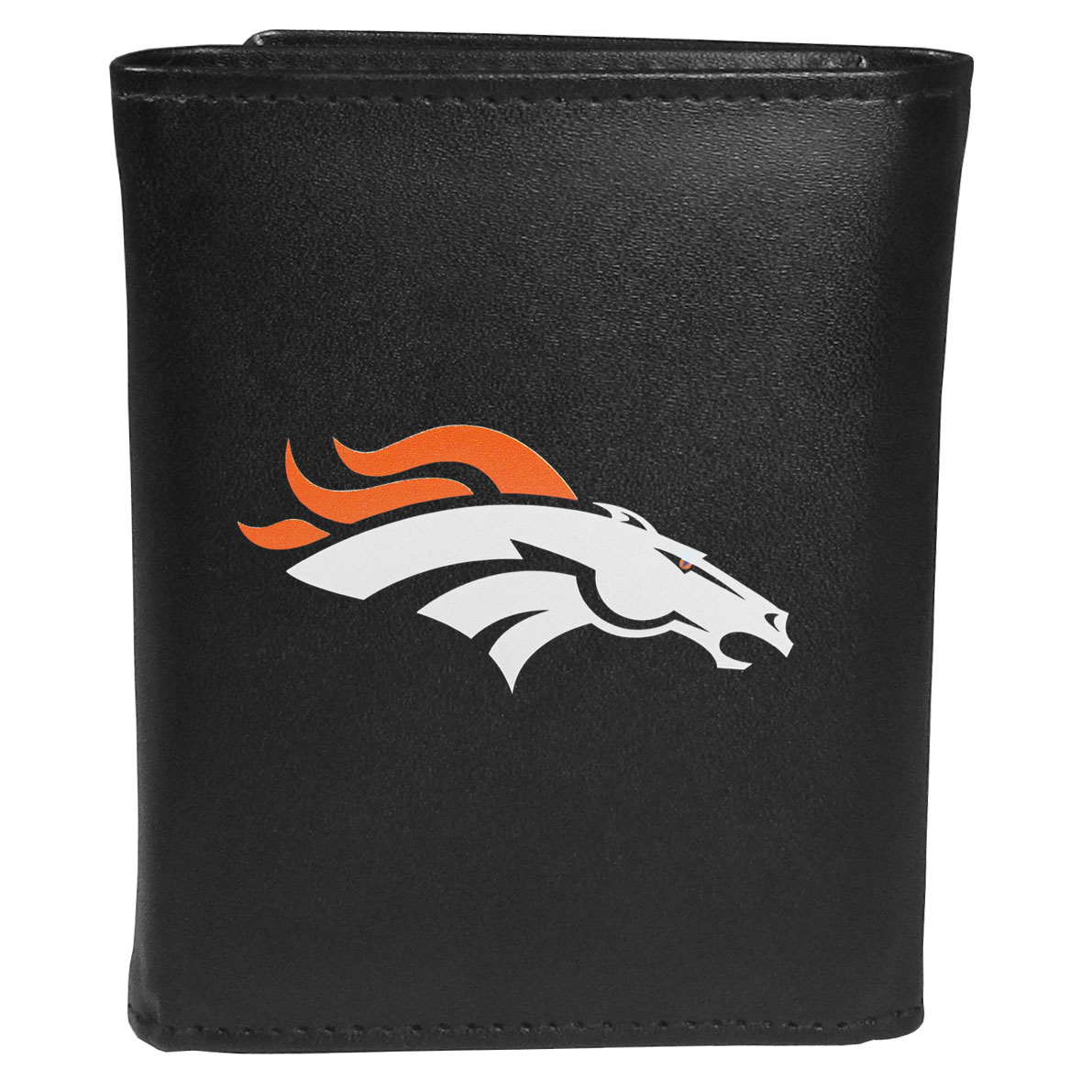 Denver Broncos Leather Tri-fold Wallet, Large Logo - Our classic fine leather tri-fold wallet is meticulously crafted with genuine leather that will age beautifully so you will have a quality wallet for years to come. This is fan apparel at its finest. The wallet is packed with organizational  features; lots of credit card slots, large billfold pocket, and a window ID slot. The front of the wallet features an extra large Denver Broncos printed logo.