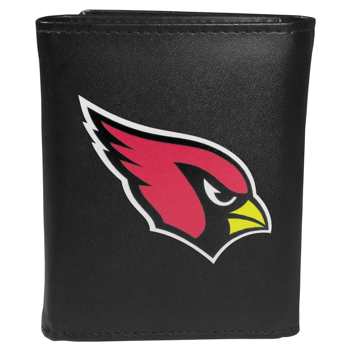 Arizona Cardinals Leather Tri-fold Wallet, Large Logo - Our classic fine leather tri-fold wallet is meticulously crafted with genuine leather that will age beautifully so you will have a quality wallet for years to come. This is fan apparel at its finest. The wallet is packed with organizational  features; lots of credit card slots, large billfold pocket, and a window ID slot. The front of the wallet features an extra large Arizona Cardinals printed logo.