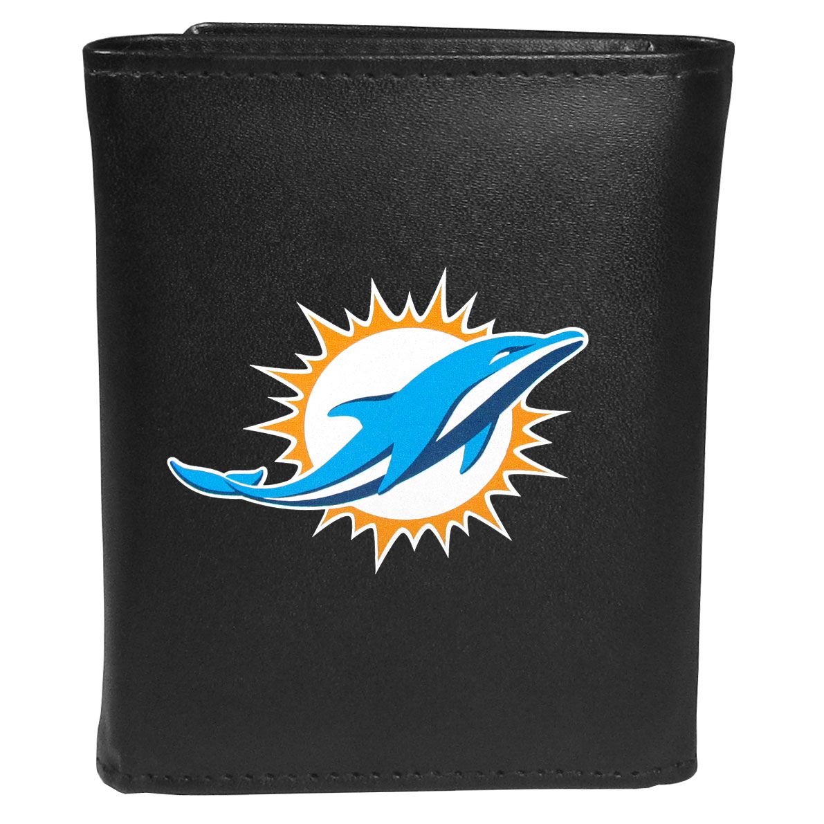 Miami Dolphins Leather Tri-fold Wallet, Large Logo - Our classic fine leather tri-fold wallet is meticulously crafted with genuine leather that will age beautifully so you will have a quality wallet for years to come. This is fan apparel at its finest. The wallet is packed with organizational  features; lots of credit card slots, large billfold pocket, and a window ID slot. The front of the wallet features an extra large Miami Dolphins printed logo.
