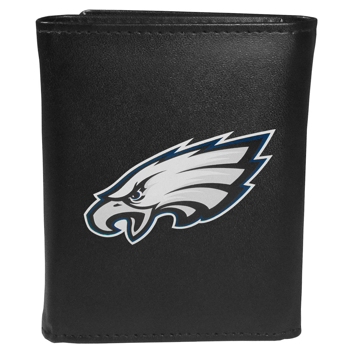 Philadelphia Eagles Leather Tri-fold Wallet, Large Logo - Our classic fine leather tri-fold wallet is meticulously crafted with genuine leather that will age beautifully so you will have a quality wallet for years to come. This is fan apparel at its finest. The wallet is packed with organizational  features; lots of credit card slots, large billfold pocket, and a window ID slot. The front of the wallet features an extra large Philadelphia Eagles printed logo.