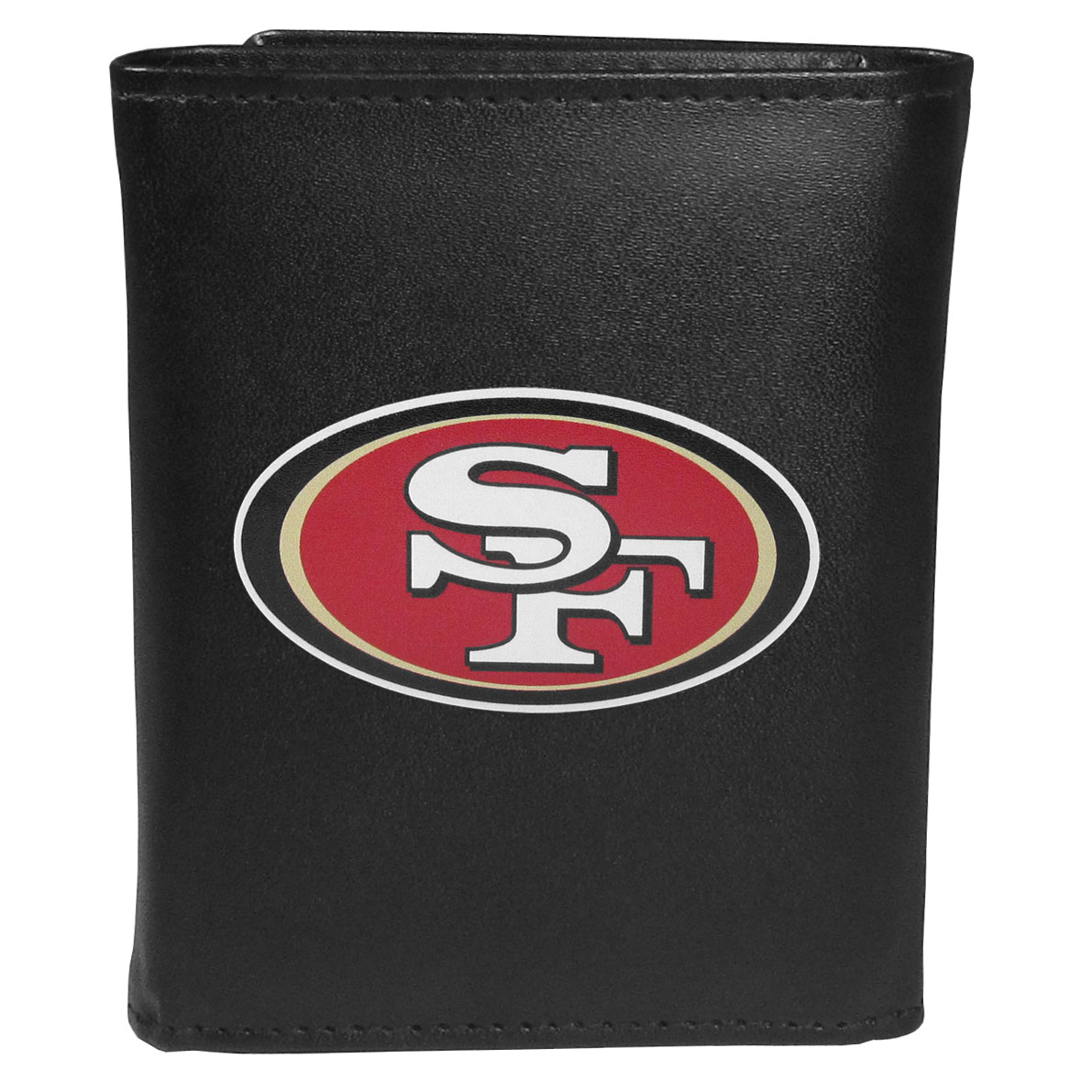 San Francisco 49ers Leather Tri-fold Wallet, Large Logo - Our classic fine leather tri-fold wallet is meticulously crafted with genuine leather that will age beautifully so you will have a quality wallet for years to come. This is fan apparel at its finest. The wallet is packed with organizational  features; lots of credit card slots, large billfold pocket, and a window ID slot. The front of the wallet features an extra large San Francisco 49ers printed logo.
