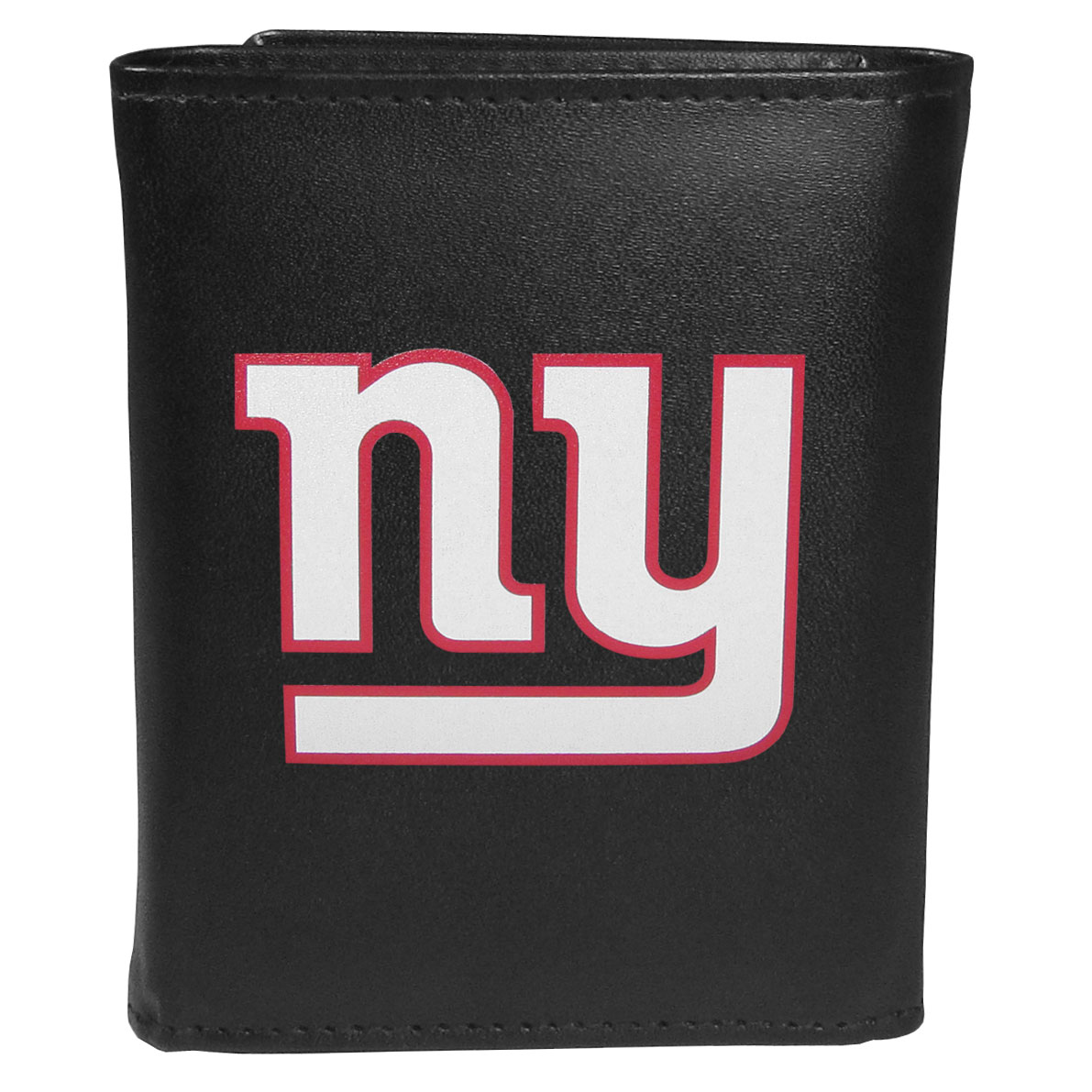 New York Giants Leather Tri-fold Wallet, Large Logo - Our classic fine leather tri-fold wallet is meticulously crafted with genuine leather that will age beautifully so you will have a quality wallet for years to come. This is fan apparel at its finest. The wallet is packed with organizational  features; lots of credit card slots, large billfold pocket, and a window ID slot. The front of the wallet features an extra large New York Giants printed logo.