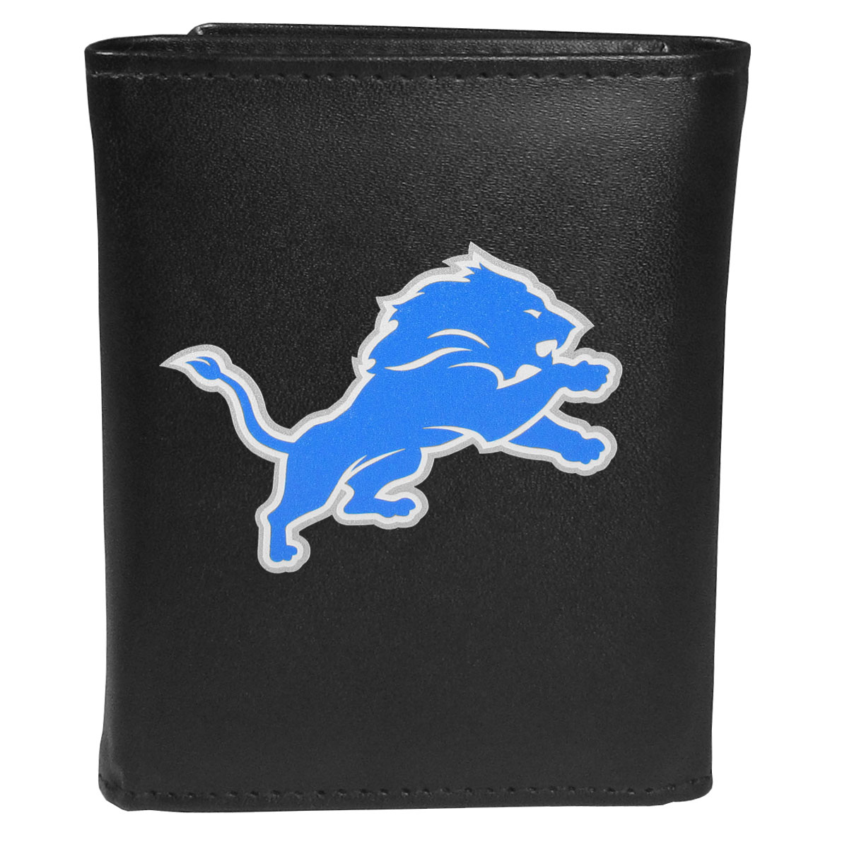Detroit Lions Leather Tri-fold Wallet, Large Logo - Our classic fine leather tri-fold wallet is meticulously crafted with genuine leather that will age beautifully so you will have a quality wallet for years to come. This is fan apparel at its finest. The wallet is packed with organizational  features; lots of credit card slots, large billfold pocket, and a window ID slot. The front of the wallet features an extra large Detroit Lions printed logo.