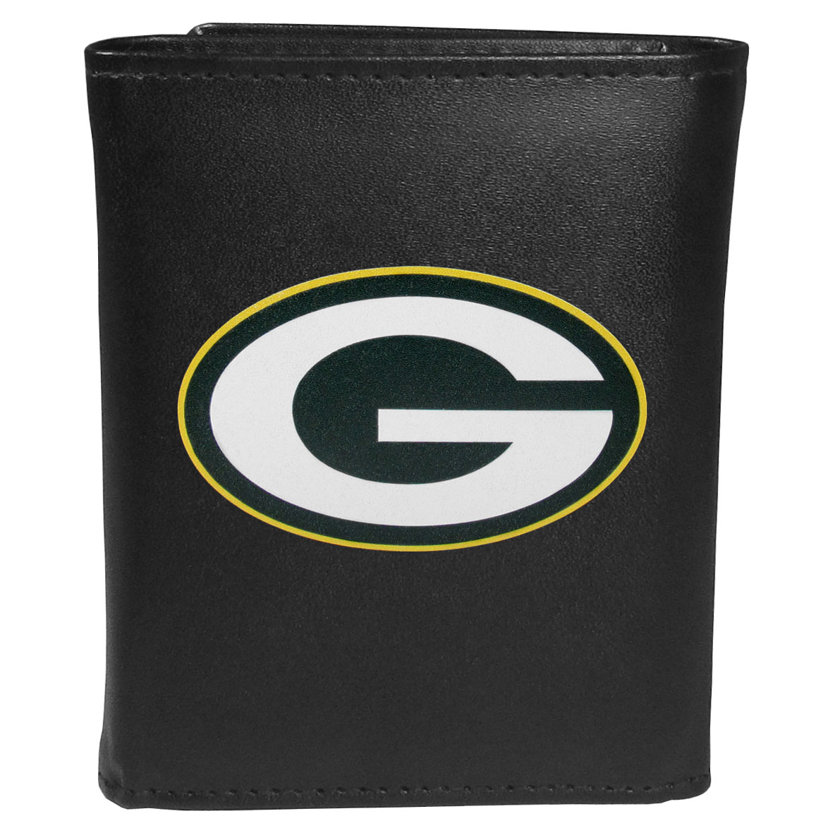 Green Bay Packers Leather Tri-fold Wallet, Large Logo - Our classic fine leather tri-fold wallet is meticulously crafted with genuine leather that will age beautifully so you will have a quality wallet for years to come. This is fan apparel at its finest. The wallet is packed with organizational  features; lots of credit card slots, large billfold pocket, and a window ID slot. The front of the wallet features an extra large Green Bay Packers printed logo.