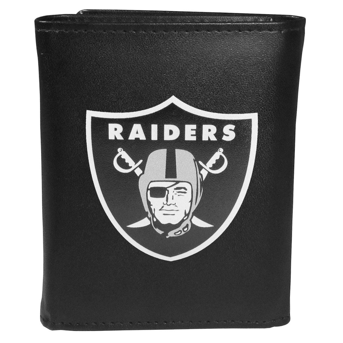 Oakland Raiders Leather Tri-fold Wallet, Large Logo - Our classic fine leather tri-fold wallet is meticulously crafted with genuine leather that will age beautifully so you will have a quality wallet for years to come. This is fan apparel at its finest. The wallet is packed with organizational  features; lots of credit card slots, large billfold pocket, and a window ID slot. The front of the wallet features an extra large Oakland Raiders printed logo.