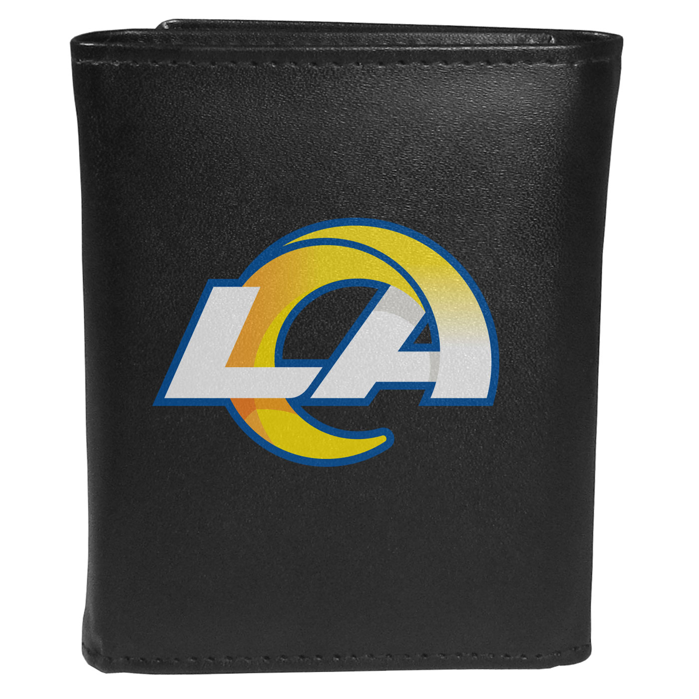 Los Angeles Rams Leather Tri-fold Wallet, Large Logo - Our classic fine leather tri-fold wallet is meticulously crafted with genuine leather that will age beautifully so you will have a quality wallet for years to come. This is fan apparel at its finest. The wallet is packed with organizational  features; lots of credit card slots, large billfold pocket, and a window ID slot. The front of the wallet features an extra large Los Angeles Rams printed logo.