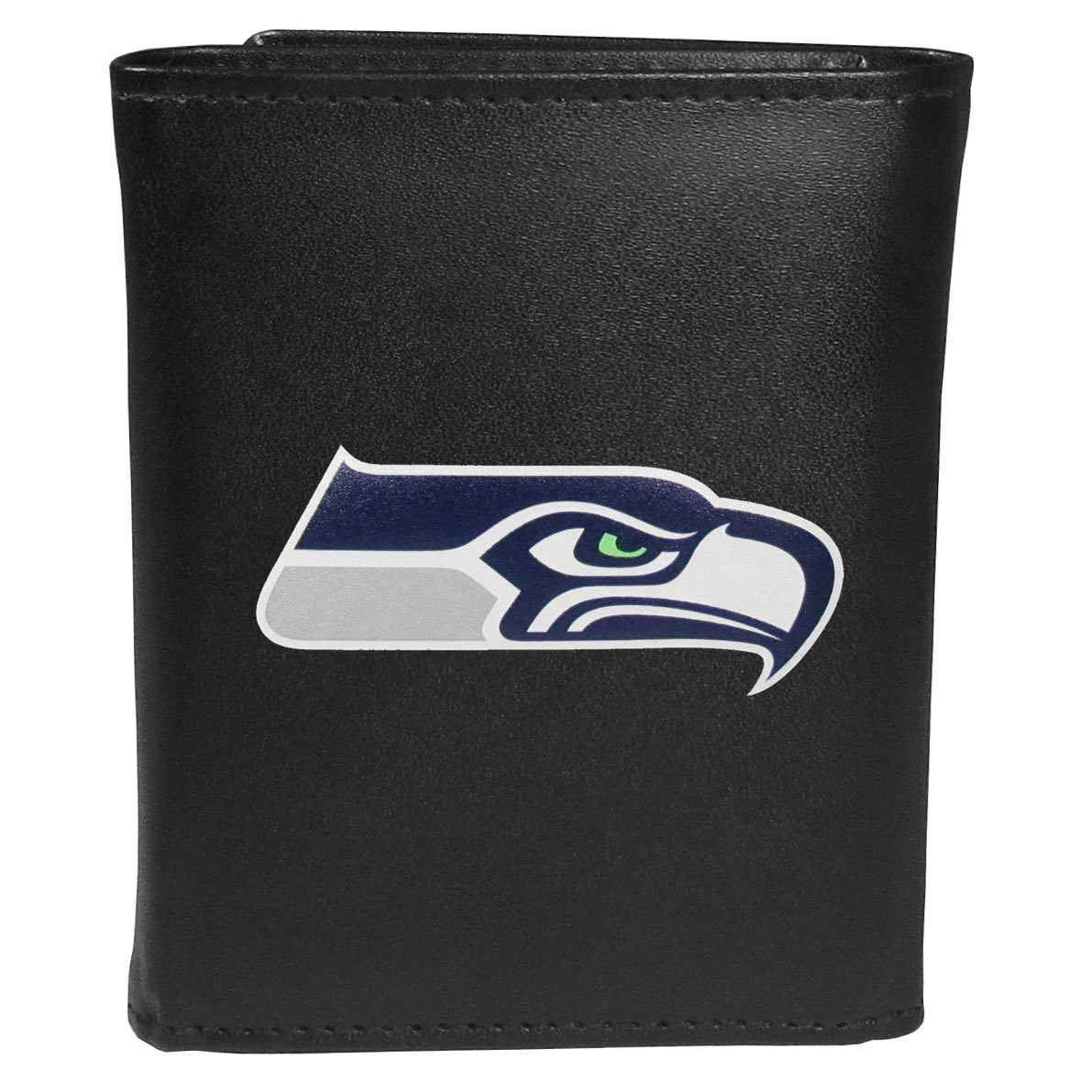 Seattle Seahawks Leather Tri-fold Wallet, Large Logo - Our classic fine leather tri-fold wallet is meticulously crafted with genuine leather that will age beautifully so you will have a quality wallet for years to come. This is fan apparel at its finest. The wallet is packed with organizational  features; lots of credit card slots, large billfold pocket, and a window ID slot. The front of the wallet features an extra large Seattle Seahawks printed logo.