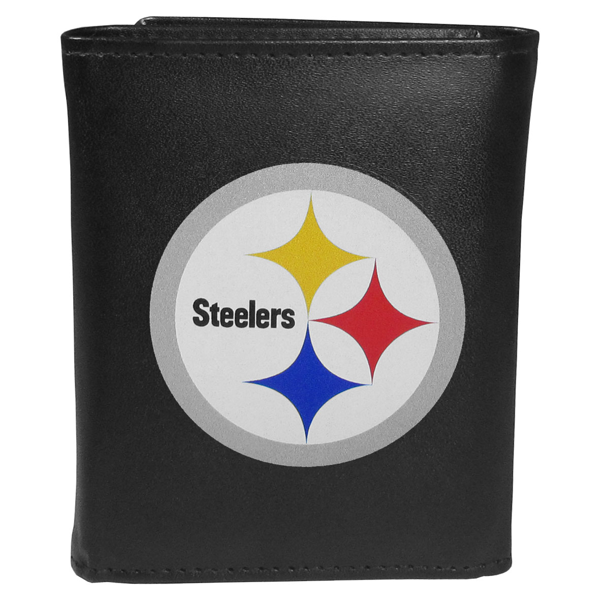 Pittsburgh Steelers Leather Tri-fold Wallet, Large Logo - Our classic fine leather tri-fold wallet is meticulously crafted with genuine leather that will age beautifully so you will have a quality wallet for years to come. This is fan apparel at its finest. The wallet is packed with organizational  features; lots of credit card slots, large billfold pocket, and a window ID slot. The front of the wallet features an extra large Pittsburgh Steelers printed logo.