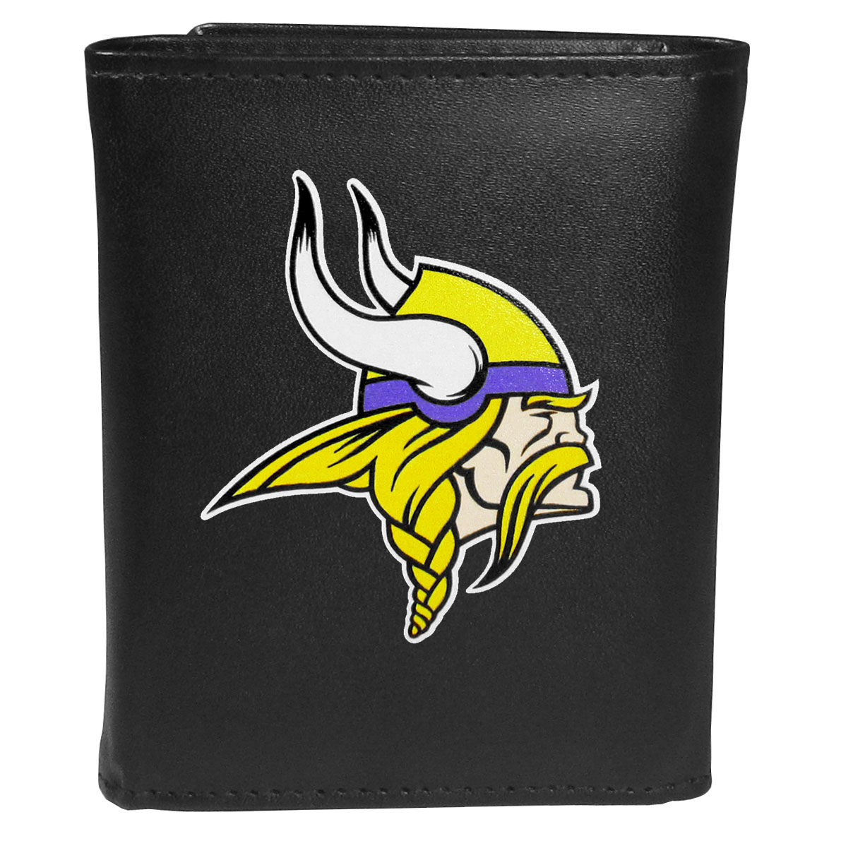 Minnesota Vikings Leather Tri-fold Wallet, Large Logo - Our classic fine leather tri-fold wallet is meticulously crafted with genuine leather that will age beautifully so you will have a quality wallet for years to come. This is fan apparel at its finest. The wallet is packed with organizational  features; lots of credit card slots, large billfold pocket, and a window ID slot. The front of the wallet features an extra large Minnesota Vikings printed logo.