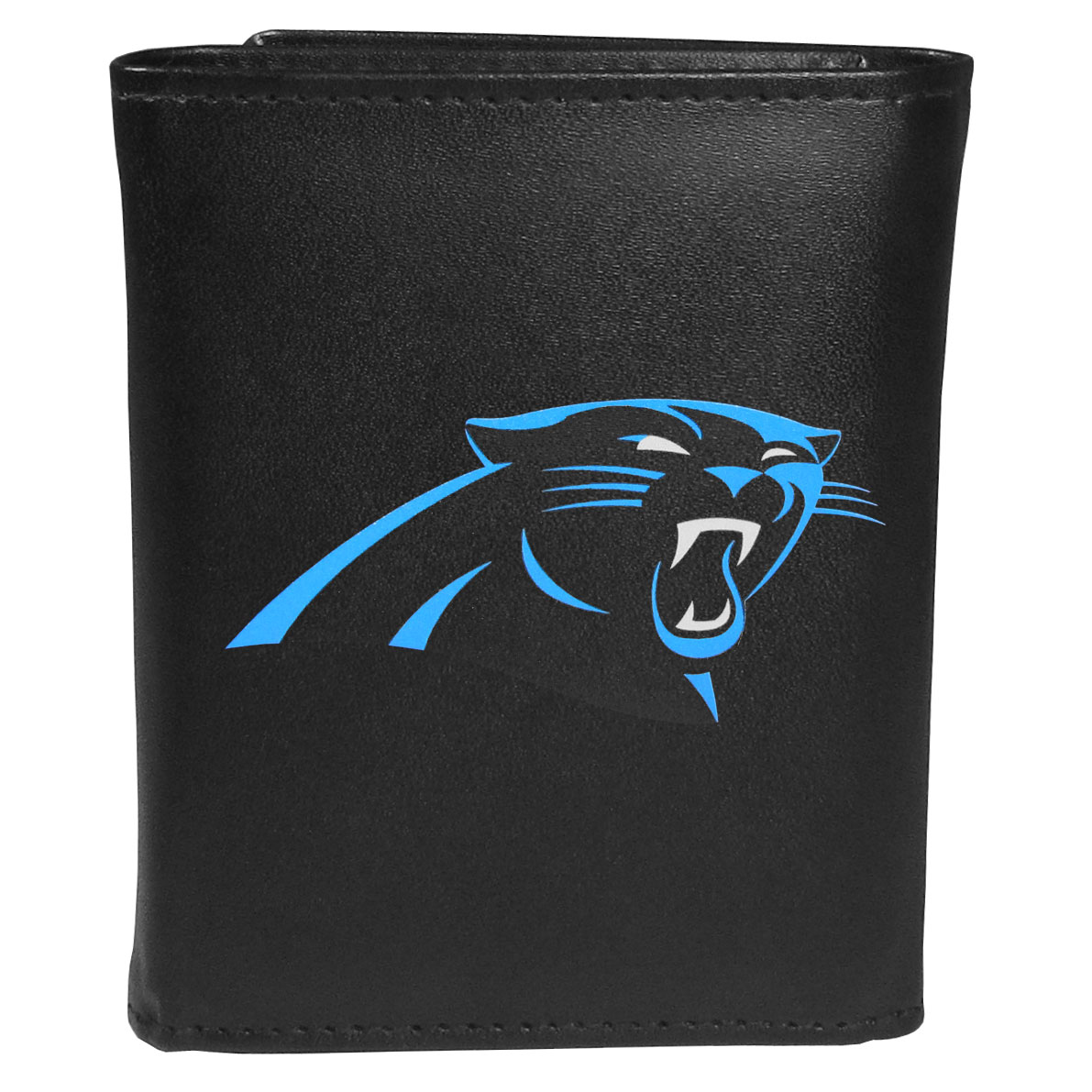 Carolina Panthers Leather Tri-fold Wallet, Large Logo - Our classic fine leather tri-fold wallet is meticulously crafted with genuine leather that will age beautifully so you will have a quality wallet for years to come. This is fan apparel at its finest. The wallet is packed with organizational  features; lots of credit card slots, large billfold pocket, and a window ID slot. The front of the wallet features an extra large Carolina Panthers printed logo.