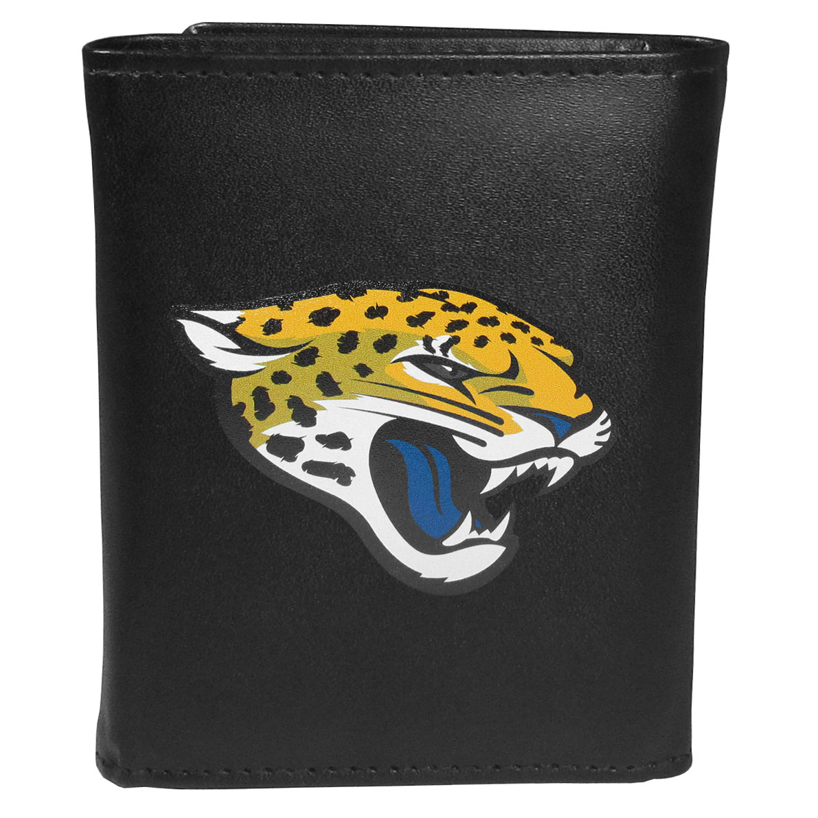 Jacksonville Jaguars Leather Tri-fold Wallet, Large Logo - Our classic fine leather tri-fold wallet is meticulously crafted with genuine leather that will age beautifully so you will have a quality wallet for years to come. This is fan apparel at its finest. The wallet is packed with organizational  features; lots of credit card slots, large billfold pocket, and a window ID slot. The front of the wallet features an extra large Jacksonville Jaguars printed logo.