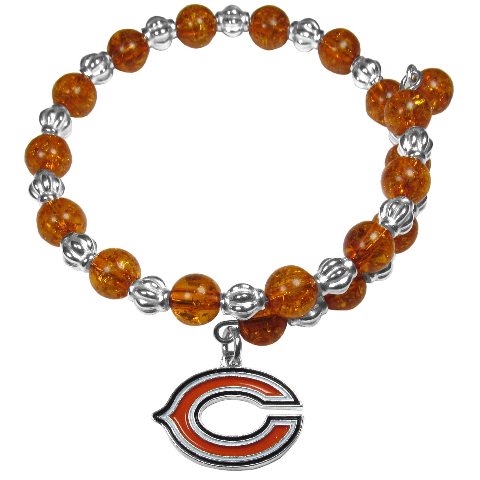 Chicago Bears Bead Memory Wire Bracelet - Our Chicago Bears memory wire bead bracelet is trendy way to show off your love of the game. The double wrap bracelet is completely covered in 7.5 mm crystals that are broken up with silvertoned beads creating a designer look with a sporty twist. The bracelet features a fully cast, metal team charm that has expertly enameled team colors. This fashion jewelry piece is a must-have for the die-hard fan that chic look that can dress up any outfit.