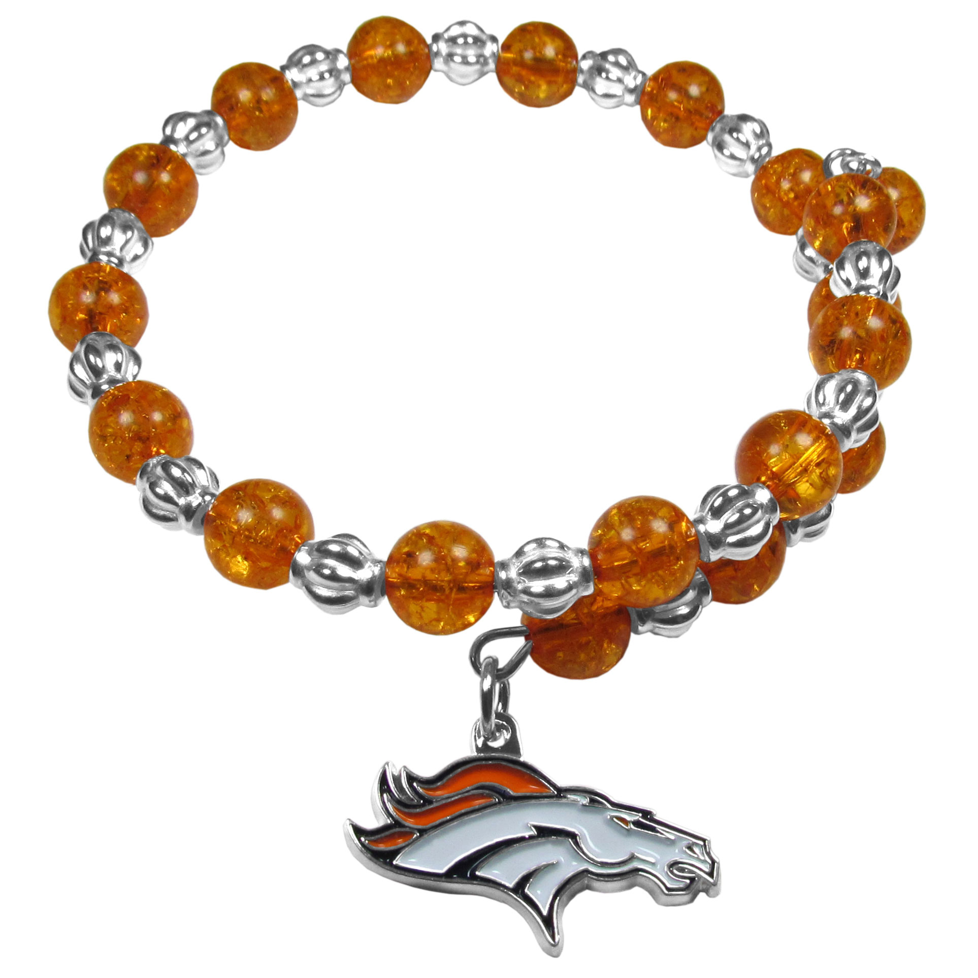 Denver Broncos Bead Memory Wire Bracelet - Our Denver Broncos memory wire bead bracelet is trendy way to show off your love of the game. The double wrap bracelet is completely covered in 7.5 mm crystals that are broken up with silvertoned beads creating a designer look with a sporty twist. The bracelet features a fully cast, metal team charm that has expertly enameled team colors. This fashion jewelry piece is a must-have for the die-hard fan that chic look that can dress up any outfit.