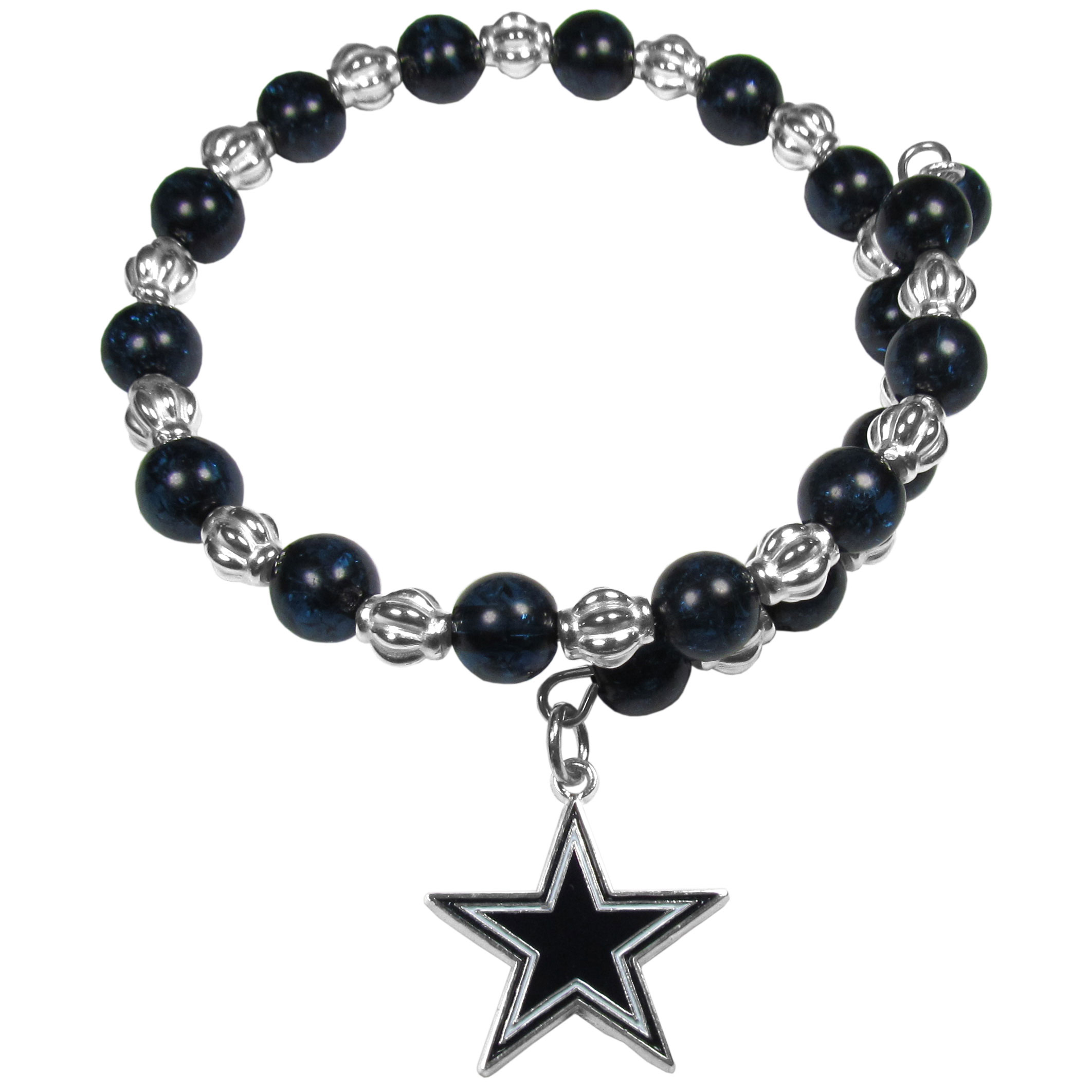 Dallas Cowboys Bead Memory Wire Bracelet - Our Dallas Cowboys memory wire bead bracelet is trendy way to show off your love of the game. The double wrap bracelet is completely covered in 7.5 mm crystals that are broken up with silvertoned beads creating a designer look with a sporty twist. The bracelet features a fully cast, metal team charm that has expertly enameled team colors. This fashion jewelry piece is a must-have for the die-hard fan that chic look that can dress up any outfit.