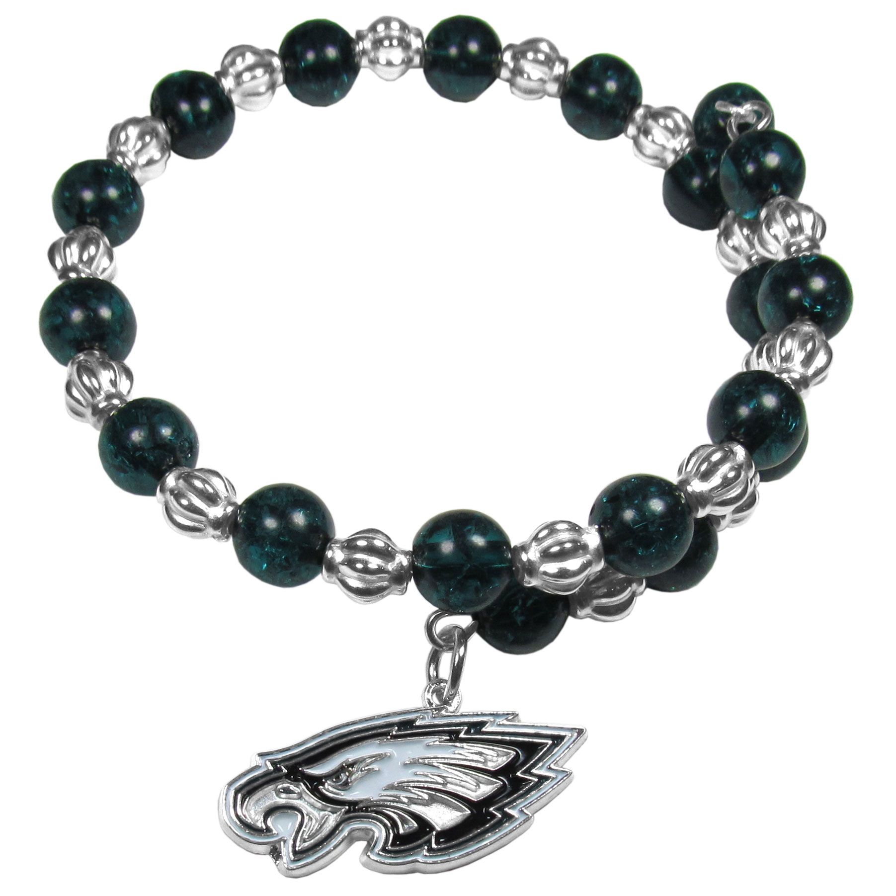 Philadelphia Eagles Bead Memory Wire Bracelet - Our Philadelphia Eagles memory wire bead bracelet is trendy way to show off your love of the game. The double wrap bracelet is completely covered in 7.5 mm beads that are broken up with silvertoned beads creating a designer look with a sporty twist. The bracelet features a fully cast, metal team charm that has expertly enameled team colors. This fashion jewelry piece is a must-have for the die-hard fan that chic look that can dress up any outfit.