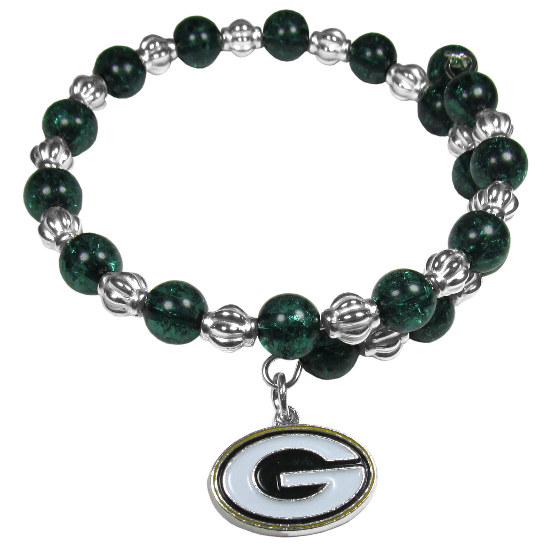 Green Bay Packers Bead Memory Wire Bracelet - Our Green Bay Packers memory wire bead bracelet is trendy way to show off your love of the game. The double wrap bracelet is completely covered in 7.5 mm crystals that are broken up with silvertoned beads creating a designer look with a sporty twist. The bracelet features a fully cast, metal team charm that has expertly enameled team colors. This fashion jewelry piece is a must-have for the die-hard fan that chic look that can dress up any outfit.
