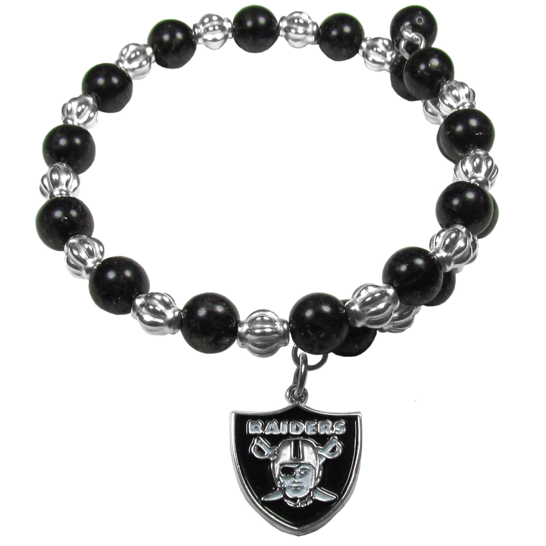 Oakland Raiders Bead Memory Wire Bracelet - Our Oakland Raiders memory wire bead bracelet is trendy way to show off your love of the game. The double wrap bracelet is completely covered in 7.5 mm crystals that are broken up with silvertoned beads creating a designer look with a sporty twist. The bracelet features a fully cast, metal team charm that has expertly enameled team colors. This fashion jewelry piece is a must-have for the die-hard fan that chic look that can dress up any outfit.