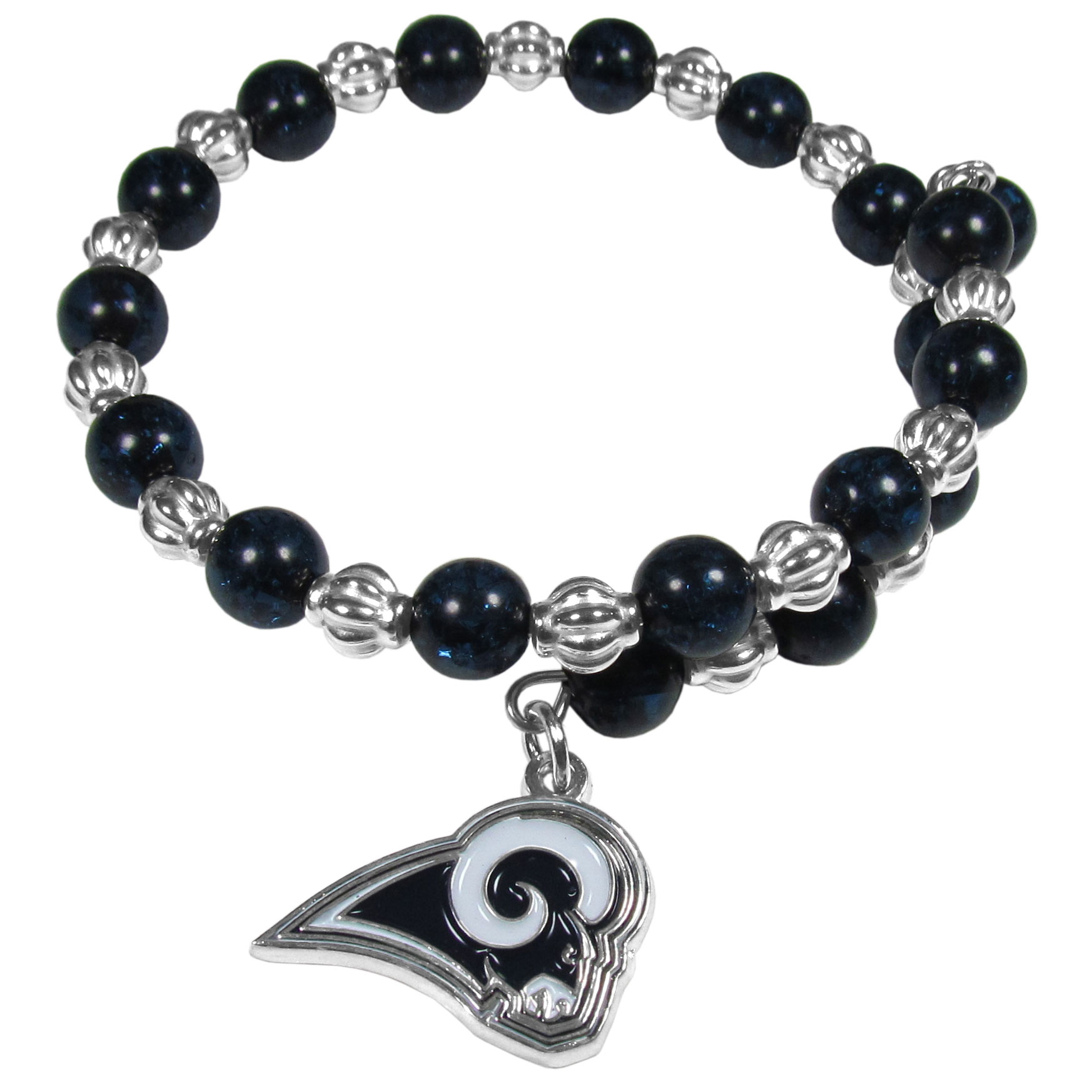 Los Angeles Rams Bead Memory Wire Bracelet - Our Los Angeles Rams memory wire bead bracelet is trendy way to show off your love of the game. The double wrap bracelet is completely covered in 7.5 mm beads that are broken up with silvertoned beads creating a designer look with a sporty twist. The bracelet features a fully cast, metal team charm that has expertly enameled team colors. This fashion jewelry piece is a must-have for the die-hard who is looking for an eye-catching addition to their fan jewelry collection.