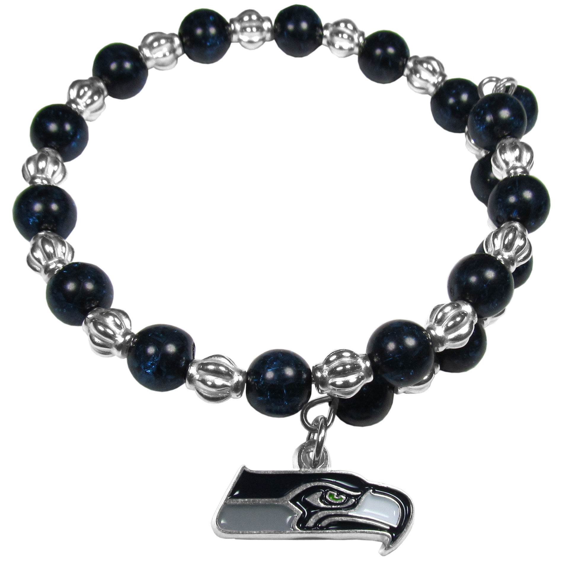 Seattle Seahawks Bead Memory Wire Bracelet - Our Seattle Seahawks memory wire bead bracelet is trendy way to show off your love of the game. The double wrap bracelet is completely covered in 7.5 mm crystals that are broken up with silvertoned beads creating a designer look with a sporty twist. The bracelet features a fully cast, metal team charm that has expertly enameled team colors. This fashion jewelry piece is a must-have for the die-hard fan that chic look that can dress up any outfit.