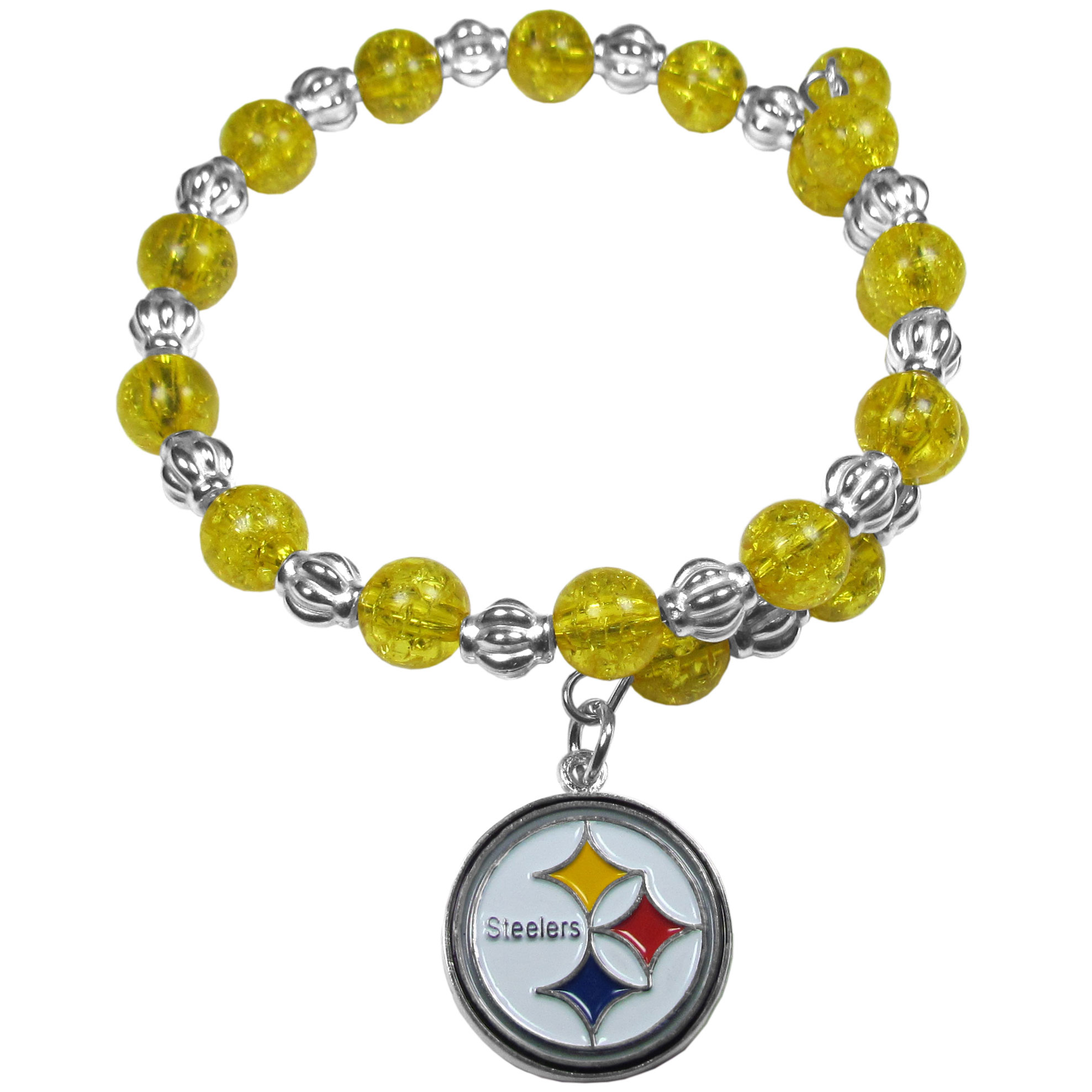 Pittsburgh Steelers Bead Memory Wire Bracelet - Our Pittsburgh Steelers memory wire bead bracelet is trendy way to show off your love of the game. The double wrap bracelet is completely covered in 7.5 mm crystals that are broken up with silvertoned beads creating a designer look with a sporty twist. The bracelet features a fully cast, metal team charm that has expertly enameled team colors. This fashion jewelry piece is a must-have for the die-hard fan that chic look that can dress up any outfit.