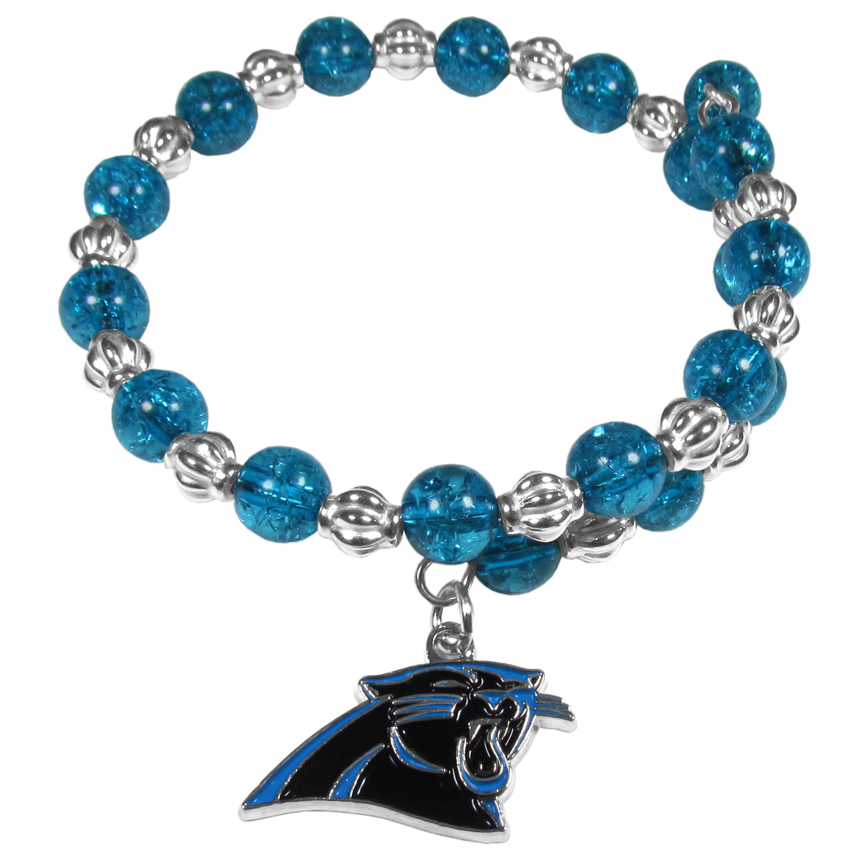 Carolina Panthers Bead Memory Wire Bracelet - Our Carolina Panthers memory wire bead bracelet is trendy way to show off your love of the game. The double wrap bracelet is completely covered in 7.5 mm crystals that are broken up with silvertoned beads creating a designer look with a sporty twist. The bracelet features a fully cast, metal team charm that has expertly enameled team colors. This fashion jewelry piece is a must-have for the die-hard fan that chic look that can dress up any outfit.