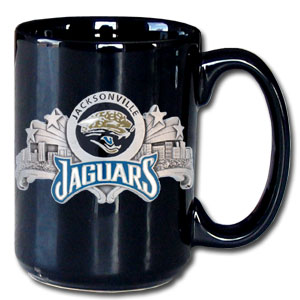 NFL Coffee Mug - Jacksonville Jaguars - Our NFL 12 oz black collector coffee mug contains a uniquely sculpted and enameled emblem that is designed to depict both the team and its community. Check out our entire line of  NFL merchandise! Officially licensed NFL product Licensee: Siskiyou Buckle Thank you for visiting CrazedOutSports.com
