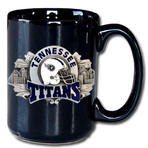 NFL Coffee Mug - Tennessee Titans - Our NFL 12 oz black collector coffee mug contains a uniquely sculpted and enameled emblem that is designed to depict both the team and its community. Check out our entire line of  NFL merchandise! Officially licensed NFL product Licensee: Siskiyou Buckle .com