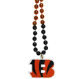 Cincinnati Bengals Mardi Gras Bead Necklace - Get the party started with our fun team Mardi Gras bead necklaces. The 26 inch necklaces have chrome team colored beads and an extra large Cincinnati Bengals team emblem that is a full 3 inches in size to make a big statement.