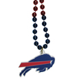 Buffalo Bills Mardi Gras Bead Necklace - Get the party started with our fun team Mardi Gras bead necklaces. The 26 inch necklaces have chrome team colored beads and an extra large Buffalo Bills team emblem that is a full 3 inches in size to make a big statement.