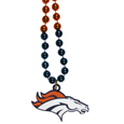 Denver Broncos Mardi Gras Bead Necklace - Get the party started with our fun team Mardi Gras bead necklaces. The 26 inch necklaces have chrome team colored beads and an extra large Denver Broncos team emblem that is a full 3 inches in size to make a big statement.