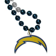 San Diego Chargers Mardi Gras Bead Necklace - Get the party started with our fun team Mardi Gras bead necklaces. The 26 inch necklaces have chrome team colored beads and an extra large San Diego Chargers team emblem that is a full 3 inches in size to make a big statement.