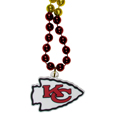 Kansas City Chiefs Mardi Gras Bead Necklace - Get the party started with our fun team Mardi Gras bead necklaces. The 26 inch necklaces have chrome team colored beads and an extra large Kansas City Chiefs team emblem that is a full 3 inches in size to make a big statement.