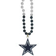 Dallas Cowboys Mardi Gras Bead Necklace - Get the party started with our fun team Mardi Gras bead necklaces. The 26 inch necklaces have chrome team colored beads and an extra large Dallas Cowboys team emblem that is a full 3 inches in size to make a big statement.