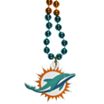 Miami Dolphins Mardi Gras Bead Necklace - Get the party started with our fun team Mardi Gras bead necklaces. The 26 inch necklaces have chrome team colored beads and an extra large Miami Dolphins team emblem that is a full 3 inches in size to make a big statement.