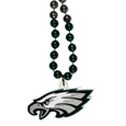 Philadelphia Eagles Mardi Gras Bead Necklace - Get the party started with our fun team Mardi Gras bead necklaces. The 26 inch necklaces have chrome team colored beads and an extra large Philadelphia Eagles team emblem that is a full 3 inches in size to make a big statement.