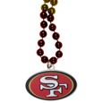 San Francisco 49ers Mardi Gras Bead Necklace - Get the party started with our fun team Mardi Gras bead necklaces. The 26 inch necklaces have chrome team colored beads and an extra large San Francisco 49ers team emblem that is a full 3 inches in size to make a big statement.