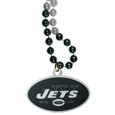 New York Jets Mardi Gras Bead Necklace - Get the party started with our fun team Mardi Gras bead necklaces. The 26 inch necklaces have chrome team colored beads and an extra large New York Jets team emblem that is a full 3 inches in size to make a big statement.