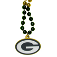 Green Bay Packers Mardi Gras Bead Necklace - Get the party started with our fun team Mardi Gras bead necklaces. The 26 inch necklaces have chrome team colored beads and an extra large Green Bay Packers team emblem that is a full 3 inches in size to make a big statement.