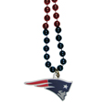 New England Patriots Mardi Gras Bead Necklace - Get the party started with our fun team Mardi Gras bead necklaces. The 26 inch necklaces have chrome team colored beads and an extra large New England Patriots team emblem that is a full 3 inches in size to make a big statement.