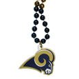 Los Angeles Rams Mardi Gras Bead Necklace - Get the party started with our fun team Mardi Gras bead necklaces. The 26 inch necklaces have chrome team colored beads and an extra large Los Angeles Rams team emblem that is a full 3 inches in size to make a big statement.
