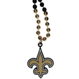 New Orleans Saints Mardi Gras Bead Necklace - Get the party started with our fun team Mardi Gras bead necklaces. The 26 inch necklaces have chrome team colored beads and an extra large New Orleans Saints team emblem that is a full 3 inches in size to make a big statement.