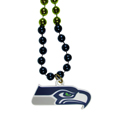 Seattle Seahawks Mardi Gras Bead Necklace - Get the party started with our fun team Mardi Gras bead necklaces. The 26 inch necklaces have chrome team colored beads and an extra large Seattle Seahawks team emblem that is a full 3 inches in size to make a big statement.
