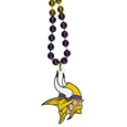 Minnesota Vikings Mardi Gras Bead Necklace - Get the party started with our fun team Mardi Gras bead necklaces. The 26 inch necklaces have chrome team colored beads and an extra large Minnesota Vikings team emblem that is a full 3 inches in size to make a big statement.