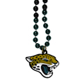 Jacksonville Jaguars Mardi Gras Bead Necklace - Get the party started with our fun team Mardi Gras bead necklaces. The 26 inch necklaces have chrome team colored beads and an extra large Jacksonville Jaguars team emblem that is a full 3 inches in size to make a big statement.