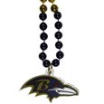 Baltimore Ravens Mardi Gras Bead Necklace - Get the party started with our fun team Mardi Gras bead necklaces. The 26 inch necklaces have chrome team colored beads and an extra large Baltimore Ravens team emblem that is a full 3 inches in size to make a big statement.