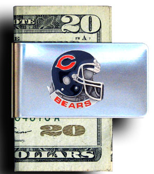 Chicago Bears stainless steel money clip - Hold your cash and show your team spirit with this hand painted square emblem on a stainless steel money clip. Go Bears! Officially licensed NFL product Licensee: Siskiyou Buckle .com